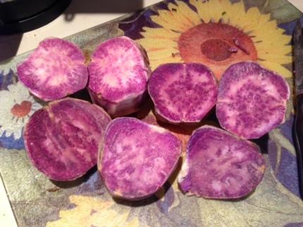 Okinawan purple sweet potatoes, cut in half.