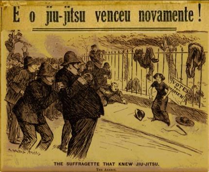 "I blended the classic suffragette cartoon with a historic Brazilian newspaper reading ""Jiu-Jitsu Wins Again!"" in Portuguese."